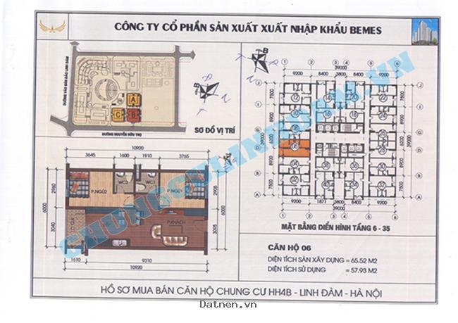 Danh sách căn hộ chung cư HH4 Linh Đàm giá rẻ cần bán