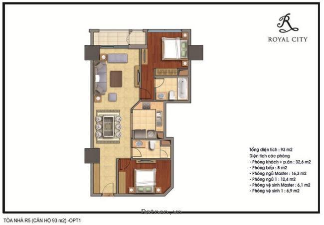Bán căn hộ Royal City diện tích 93m, hướng ĐN, 3 phòng ngủ, giá bán 3,6 tỷ