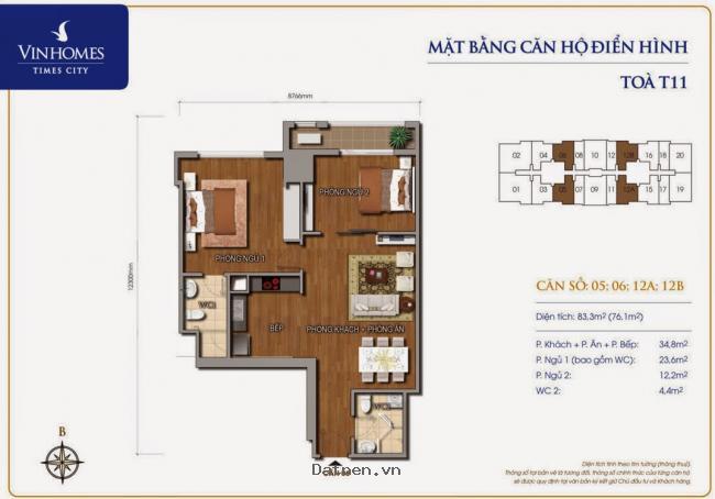 Bán căn hộ time city, 83 m2, giá chỉ 2,566 tỷ, ban công hướng bắc
