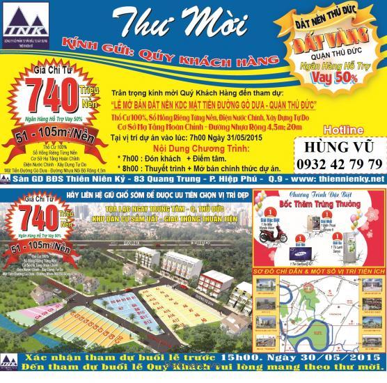 Cơ Hội trúng xe máy HonDa ViSon 2015 Khi mua nền đất tại ĐƯỜNG GÒ DƯA - Thủ Đức. Hỗ trợ vay NH 50%. lh: 0932427979