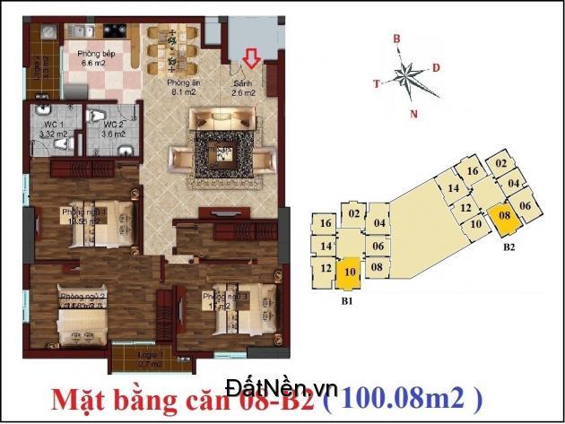 Bán căn 508 tòa B2 chung cư B1B2 CT2 Tây Nam Linh Đàm,100m - LH 0982968483