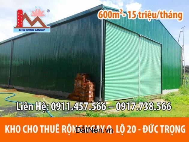 Cho Thuê Kho Rộng 600m² cách QL20 khoảng 200m