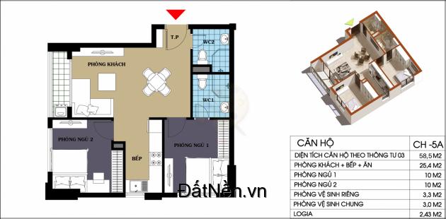 Căn Góc  58.5m2, 2 phòng ngủ, 2 toilet. giá 1,2 tỷ. Chung cư @Home, 987 Tam Trinh
