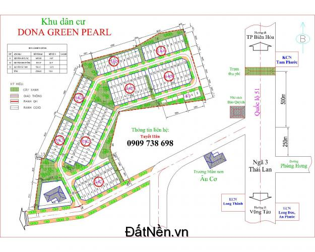 Bán đất nền dự án KDC Dona green pearl giá chỉ 321 triệu/ nền sổ hồng thổ cư 100%