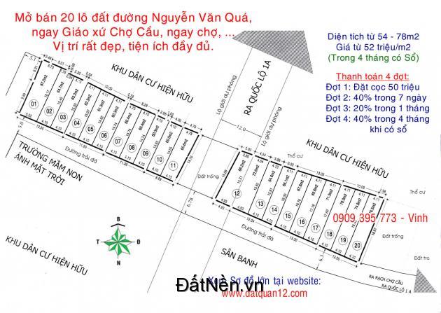 20 lô đất đường Nguyễn Văn Quá Q.12, giá 2,86 tỷ/lô 54m2. Ngay giáo xứ Chợ Cầu, ngay chợ, trường học