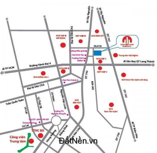 Bán đất dự án Khu dân cư Vsip 3, Vsip 2 mở rộng giá rẽ 690tr/ lô, sổ đỏ pháp lý rõ ràng
