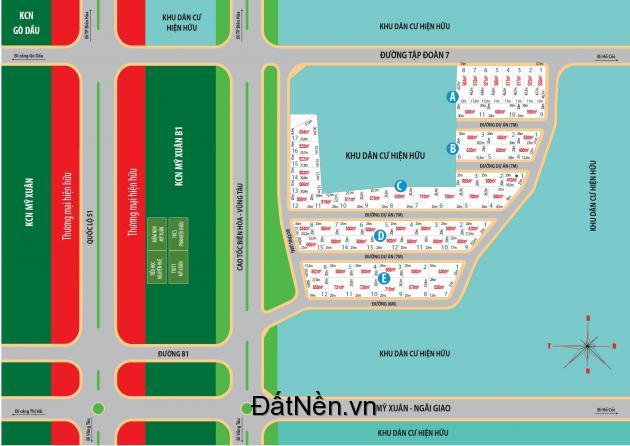GOLD LAND PHÚ MỸ BR-VT, đã có sổ riêng, giá đầu tư chỉ 2,5Tr/m2 nằm trên mặt tiền đường liên tỉnh