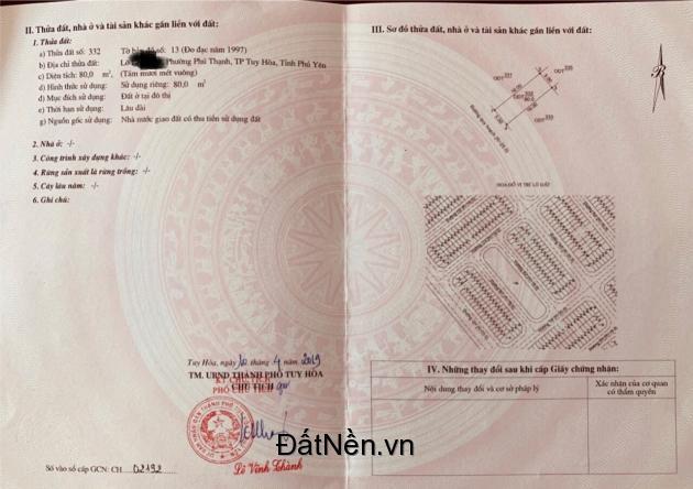 Bán đất biển TP Tuy Hòa – giá rẻ chỉ 19tr/m2- đường lớn 20M. LH 0975 221 020
