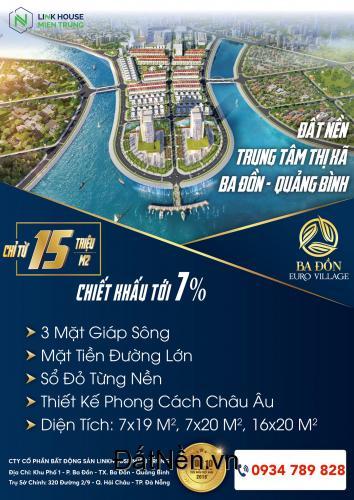 Bán đất có sổ, ven sông Quảng Bình, 15Tr/m2, vị trí thuận lợi tiện nghi. LH 0934.789.828