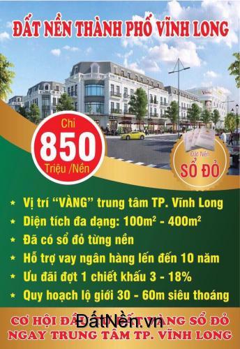 Hưng Thịnh mở bán Đất nền sổ đỏ TP Vĩnh Long với nhiều ưu đãi hấp dẫn. LH: 0972561020