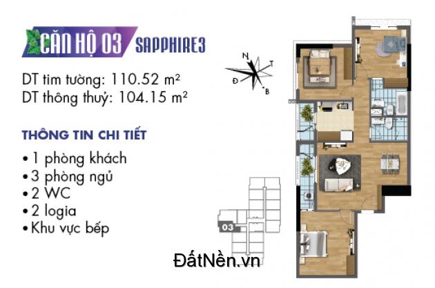 Bán căn hộ tầng 10, tòa S3, diện tích 104m2, Ck đến 633tr, đóng 50% nhận nhà