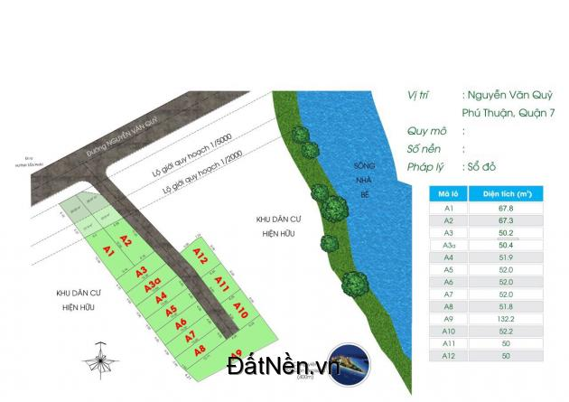 Bán 13 lô đất MT đường Nguyễn Văn Quỳ P.Phú Thuận Quận 7 67 triệu/m2 (TL)