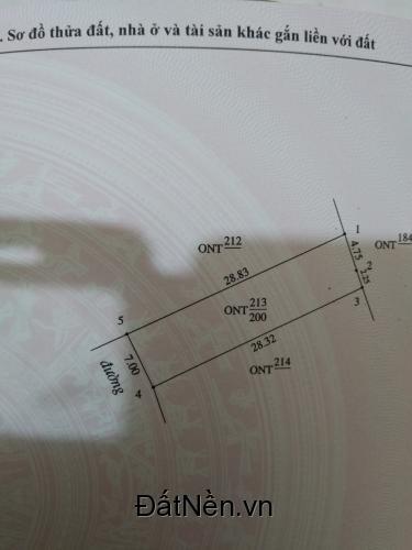 Bán đất nghi phong .Diện tích 200 m2 KT 7x27m.Giá 400 Triệu.