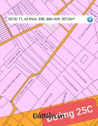 Bán đất xã Vĩnh Thanh 307m2 đường ô tô 1 sẹc Hùng Vương giá rẻ