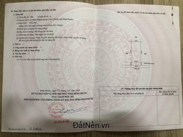 Cần bán gấp lô đất 1000m2 giá cực rẻ ở Bình Phước có sổ Hồng sẵn