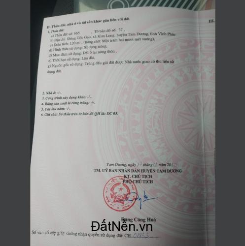 Chính chủ cần bán đất tại Khu Đồng Gốc Gạo, Xã Kim Long, Huyện Tam Dương, Tỉnh Vĩnh Phúc