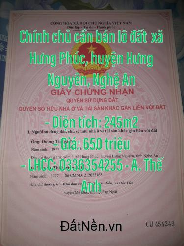 Chính chủ cần bán lô đất xóm 3, xã Hưng Phúc, huyện Hưng Nguyên, Nghệ An