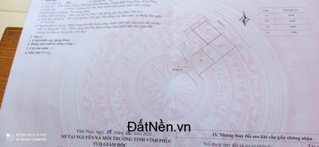 Chính chủ cần bán đất tại ngõ 7 đường Nguyễn Tất Thành, phường Khai Quang, Vĩnh Yên, Vĩnh Phúc