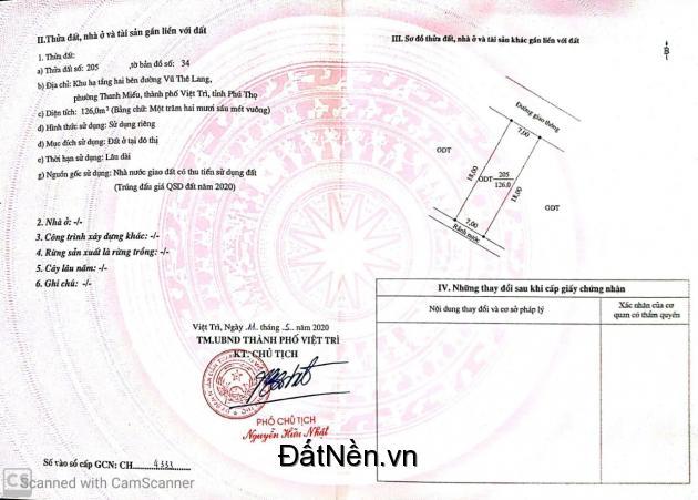 Do có việc gấp cần tiền bán nhanh lô đất mặt đường 27m tại Vũ Thê Lang - Việt Trì - Phú thọ