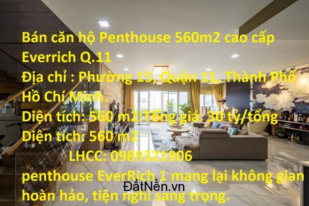 Bán căn hộ Penthouse 560m2 cao cấp Everrich Q.11