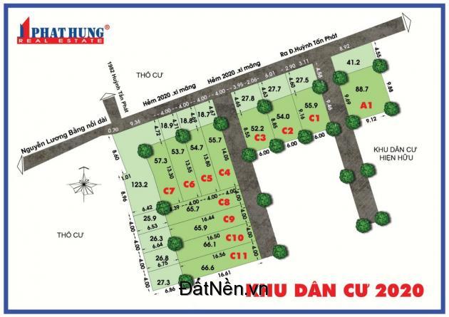HOT! Đất nền sổ đỏ gần chợ Phú Xuân Nhà Bè Tphcm đường Huỳnh Tấn Phát.LH 0908991827
