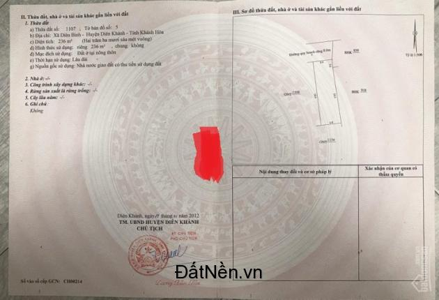 Bán đất phân lô xã Bình Lộc (Diên Bình cũ), đường 8m, sổ hồng chính chủ