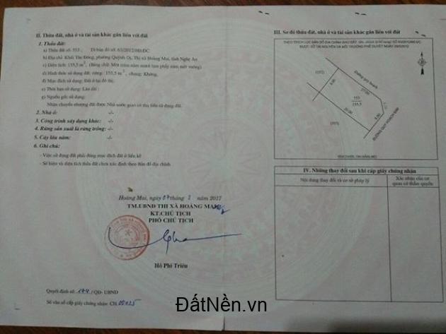 Giá 1,1 tỷ_Chuyển nhượng 3 lô đất, đã có sổ, xây tự do tại Quỳnh Dị, gần Ủy ban thị xã Hoàng Mai