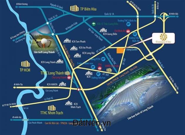 Bán đất dự án Century city liền kề Sân bay quốc tế Long Thành giá đầu tư