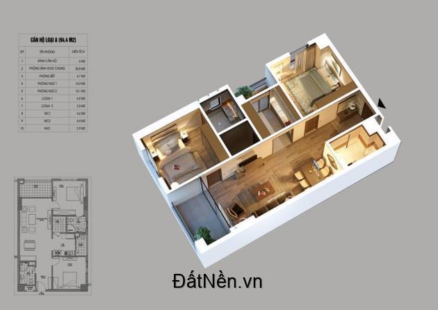Chỉ 1,4 tỷ sở hữu ngay căn hộ 64m2, 2 ngủ, 2 vệ sinh tại trung tâm quận hoàng Mai