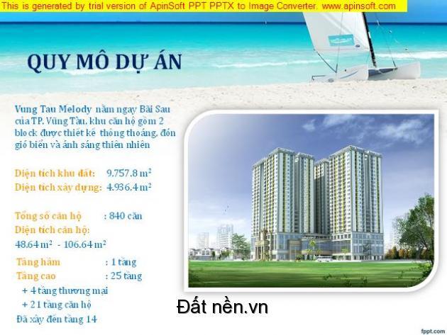 Căn hộ cao cấp ngay tại TP biển Vũng Tàu, cách bãi sau Thùy Vân 3p đi bộ, giá chỉ từ 888tr/ căn, CK 19%, LH 0945506648