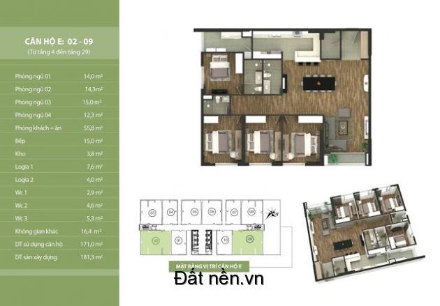 Căn góc 4PN tòa trung tâm Taseco N03T2 đẹp nhất Ngoại Giao Đoàn, nội thất cao cấp