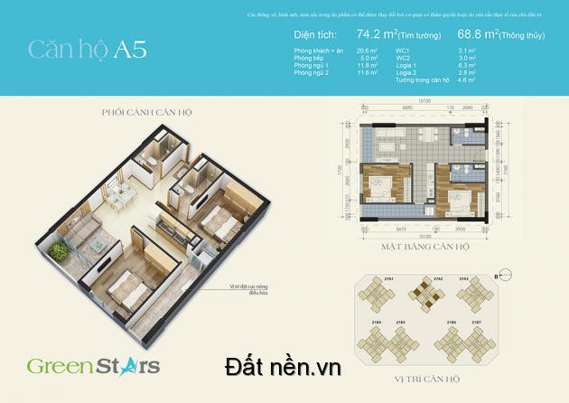 Chính chủ bán căn 74,2m2 chung cư Green Star giá cắt lỗ cao 25tr/m2