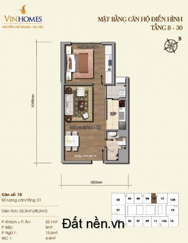 Cho thuê chung cư Vinhomes Nguyễn Chí Thanh, 1PN, 16 triệu. LH 0989.16.36.56