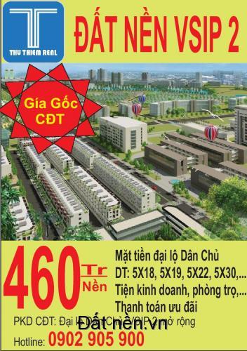 Mở bán đất nền KĐT VSIP 2_Chỉ 418 tr/nền_lh:0902905900